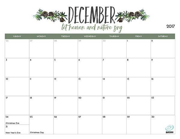 2017 Printable Calendar for Moms | Printable calendars, Organizing ...