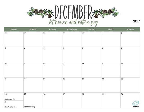 2017 Printable Calendar for Moms | Printable calendars, Organizing ...