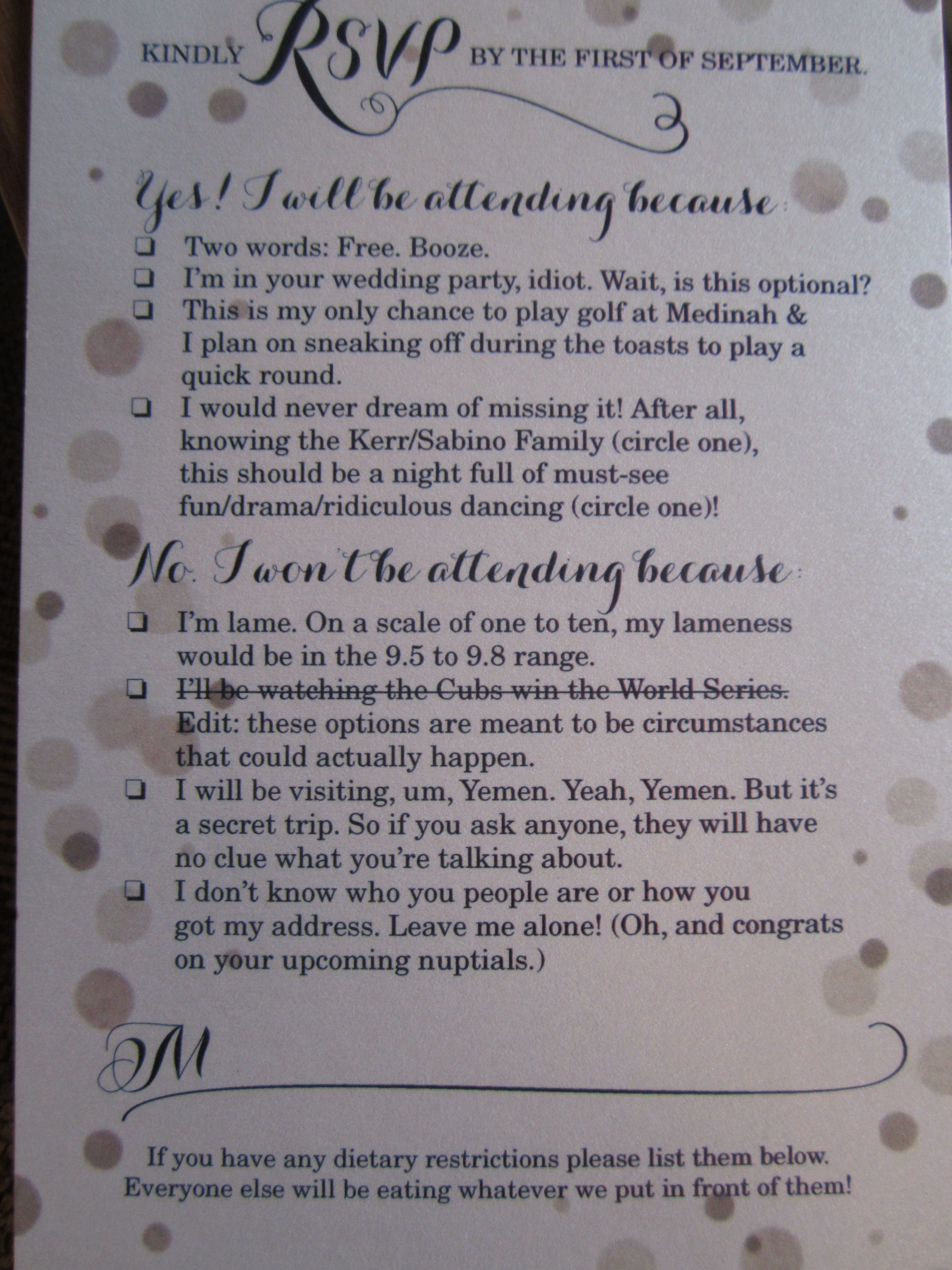 Funniest Wedding RSVP Card Ever Funny
