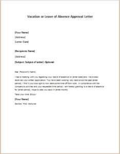 Vacation leave approval letter yoktravels vacation or leave of absence approval letter at http spiritdancerdesigns Choice Image