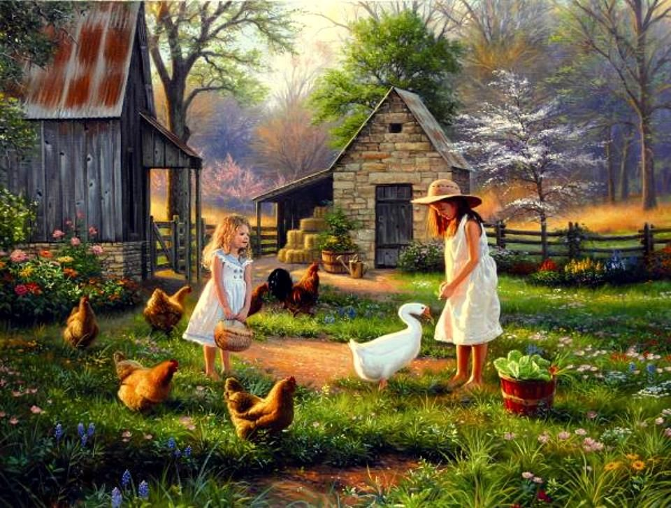 Simple country life art pinterest for Country farm simples