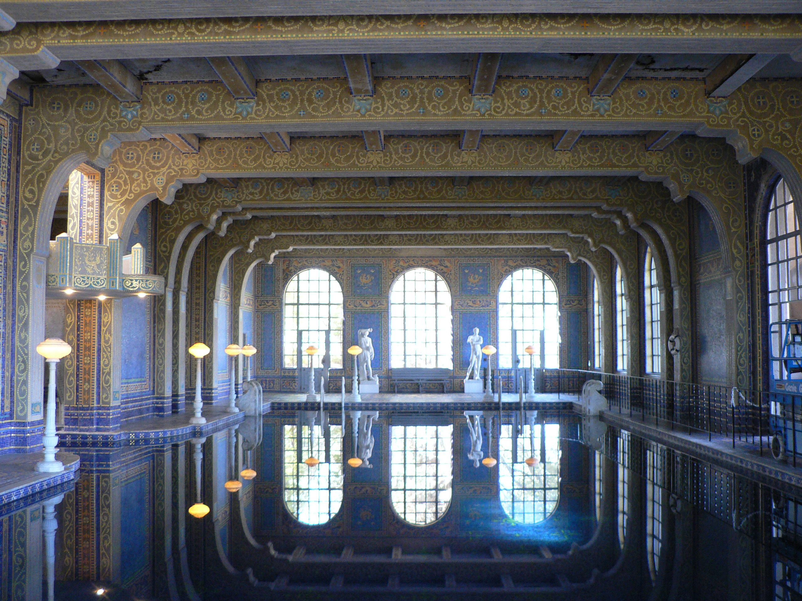 Hearst castle indoor pool home design pinterest for Interior pool