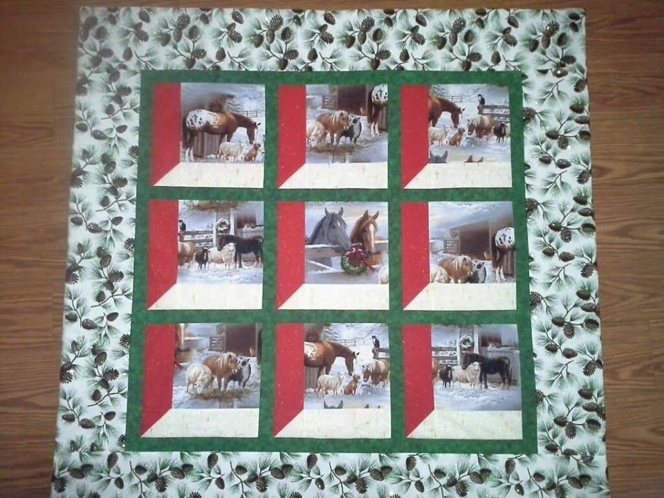 Horse quilt attic windows pattern quilts cowboys for Window quilts