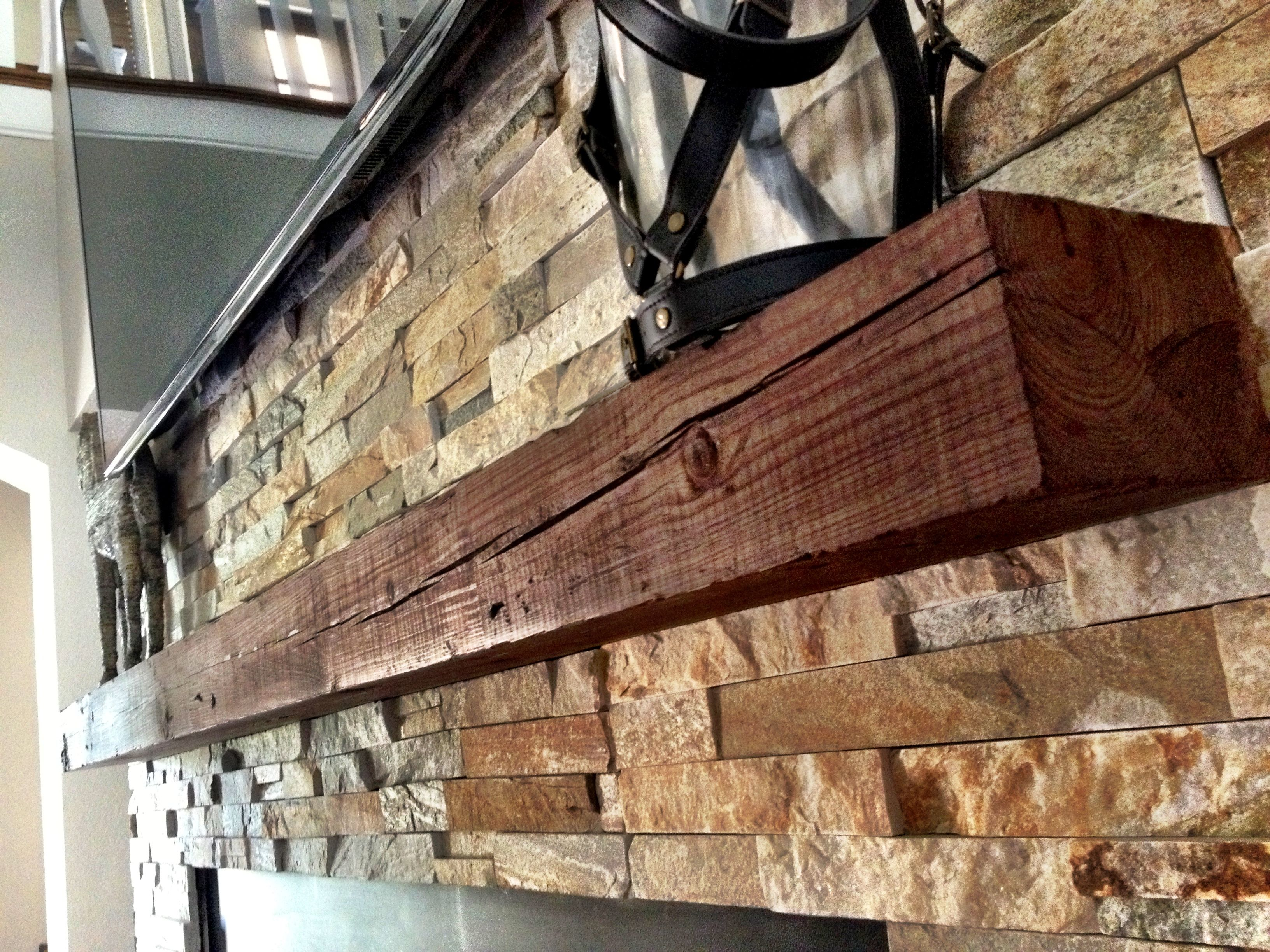 Mantle From Reclaimed Wood Beam Inspiration For My Montana Cabin