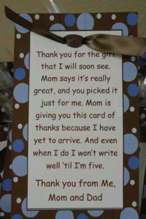 great thank you notes for baby shower baby