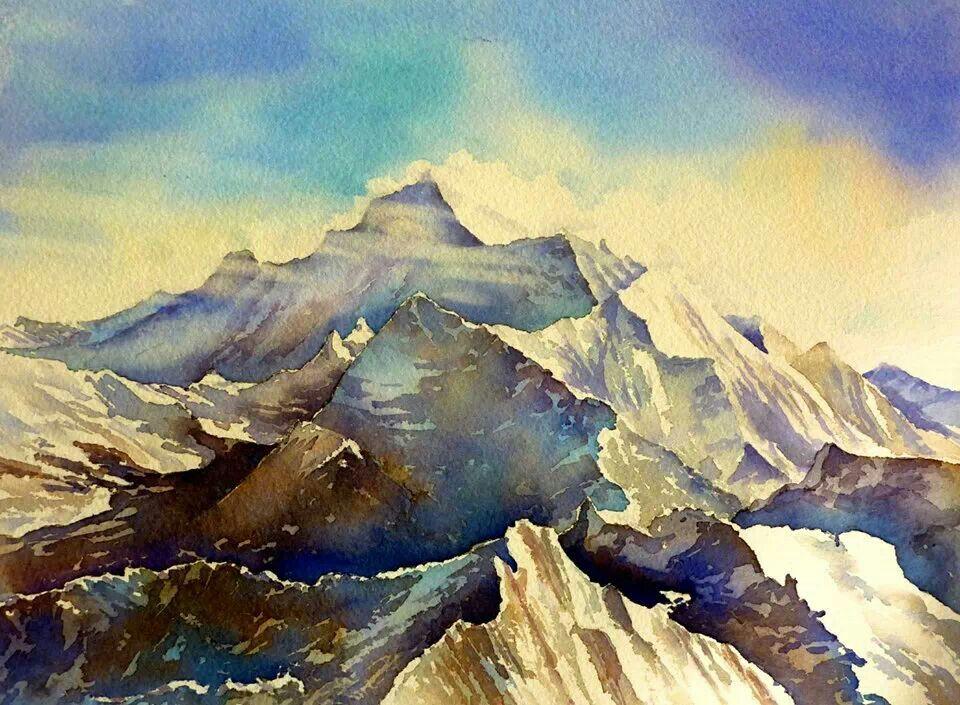 Watercolor landscape mountains | Watercolors | Pinterest