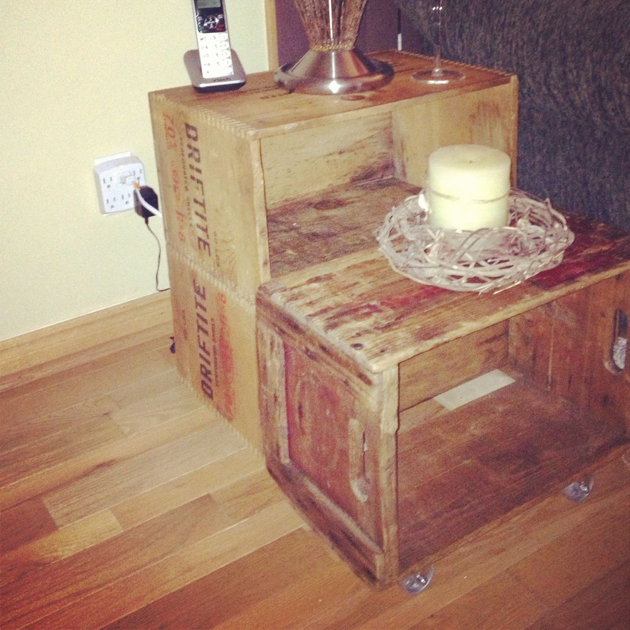 End table made out of old crates master bedroom pinterest for Table made from crates