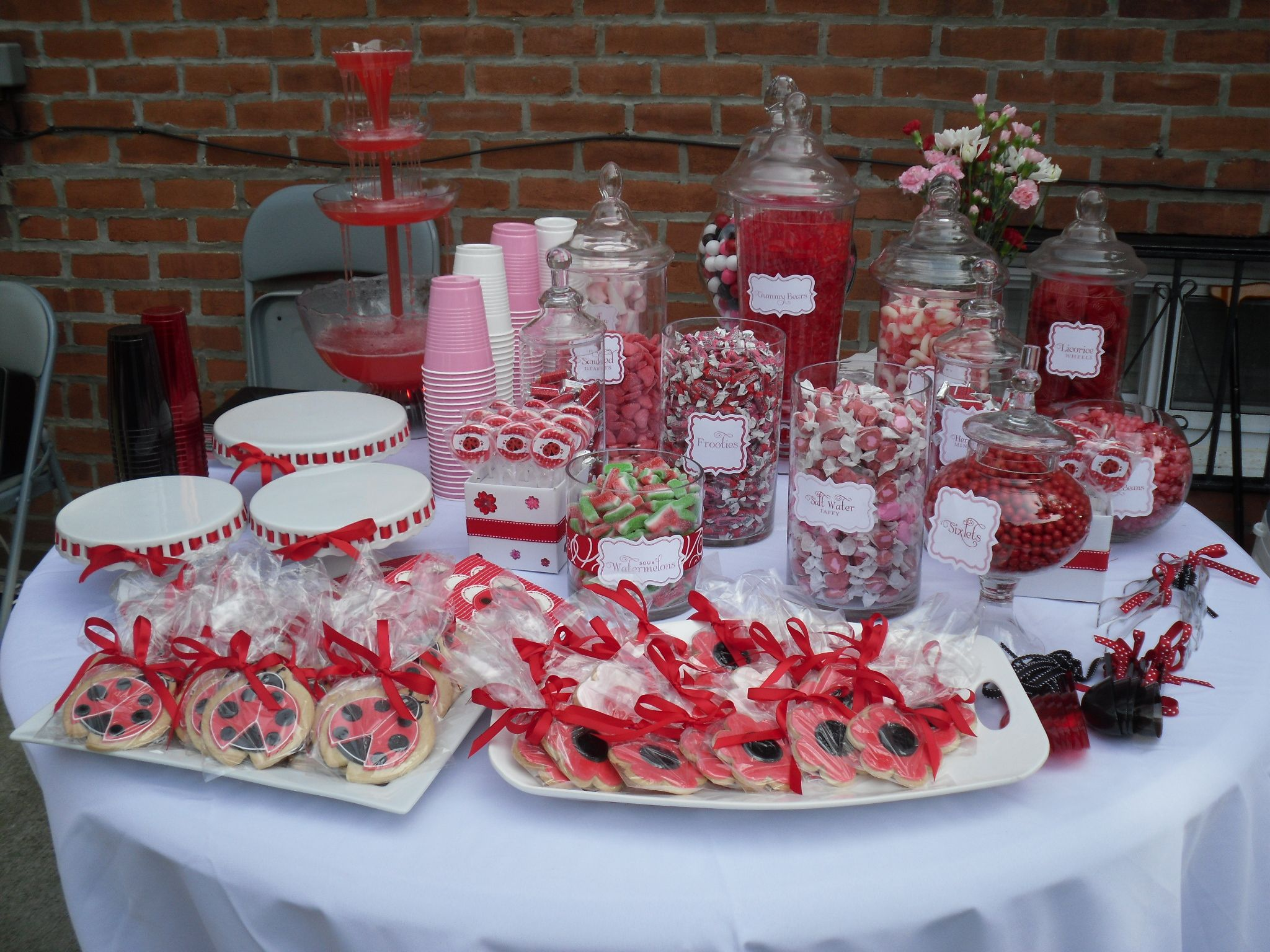 candy buffet sweets table bun in the oven ladybug baby shower