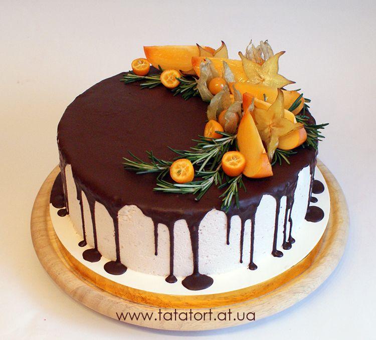Украшение торта фруктами с фото