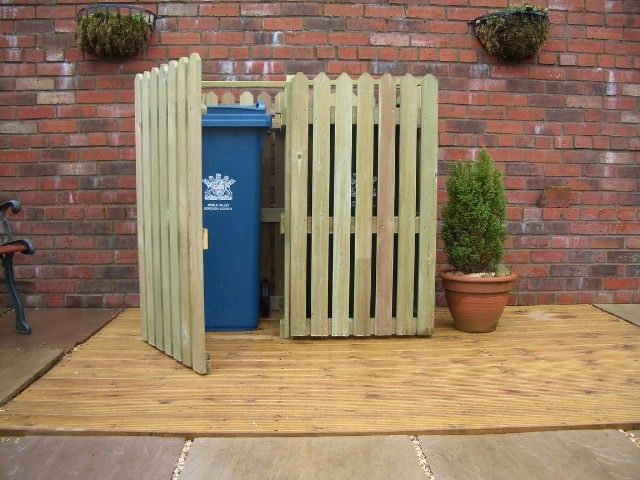 Fence look garbage can holder outdoor things pinterest