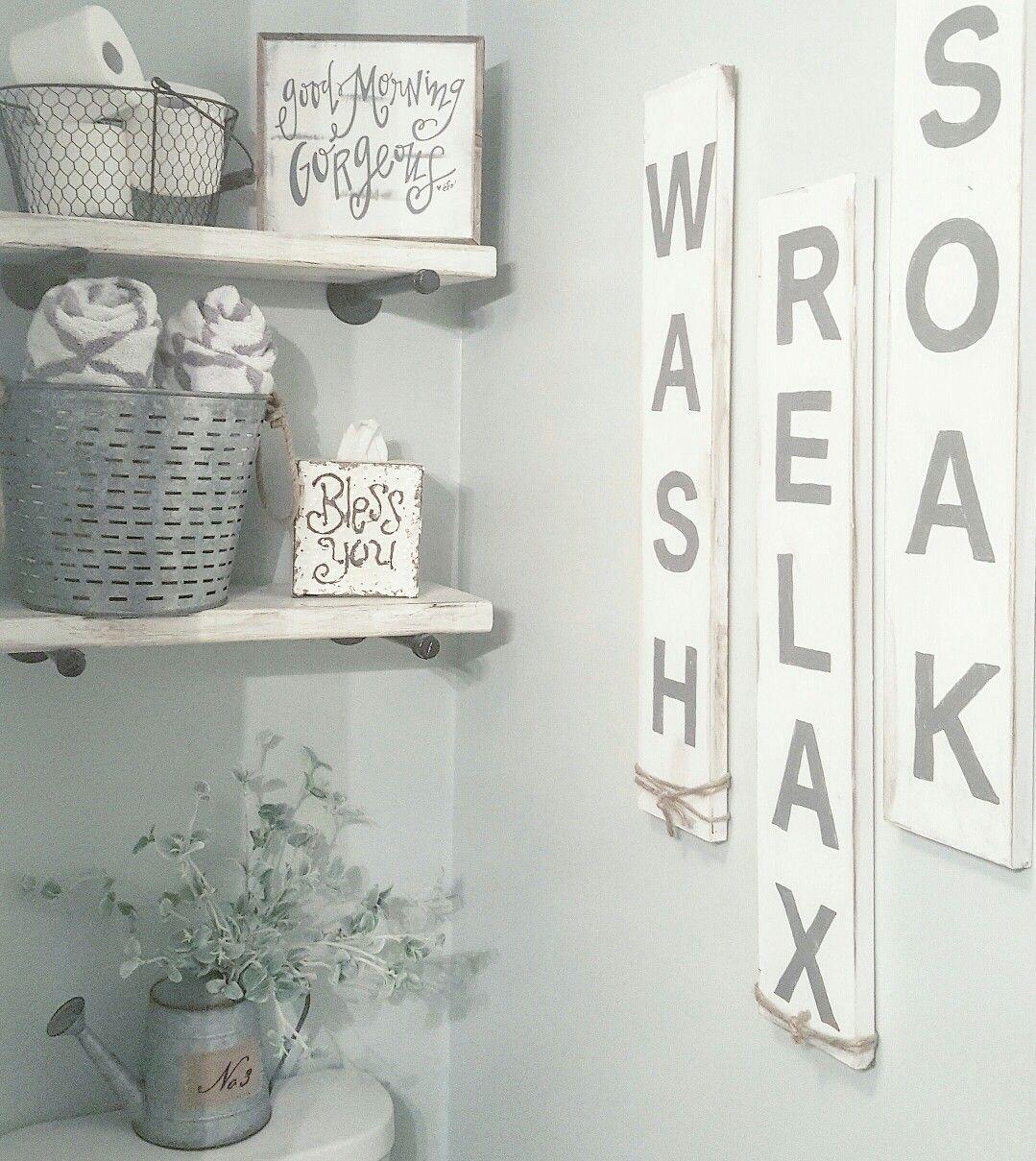 Farmhouse bathroom decor. Farmhouse signs. @blessed_ranch
