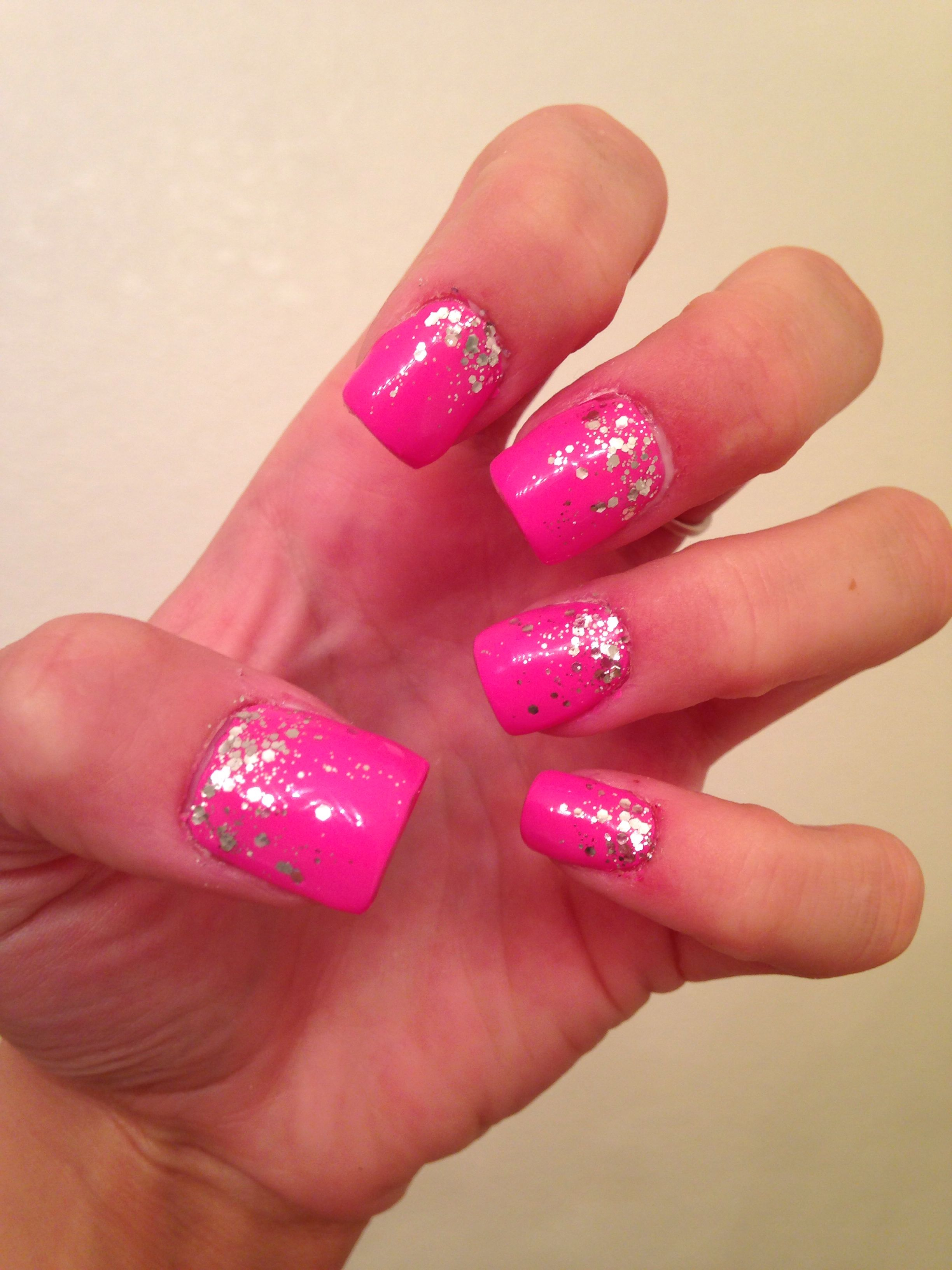 pink glitter ombr233 nails nails pinterest