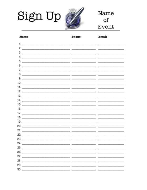 Editable Sign Up Sheet Template March 2017 Calendar – Printable Sign Up Sheet