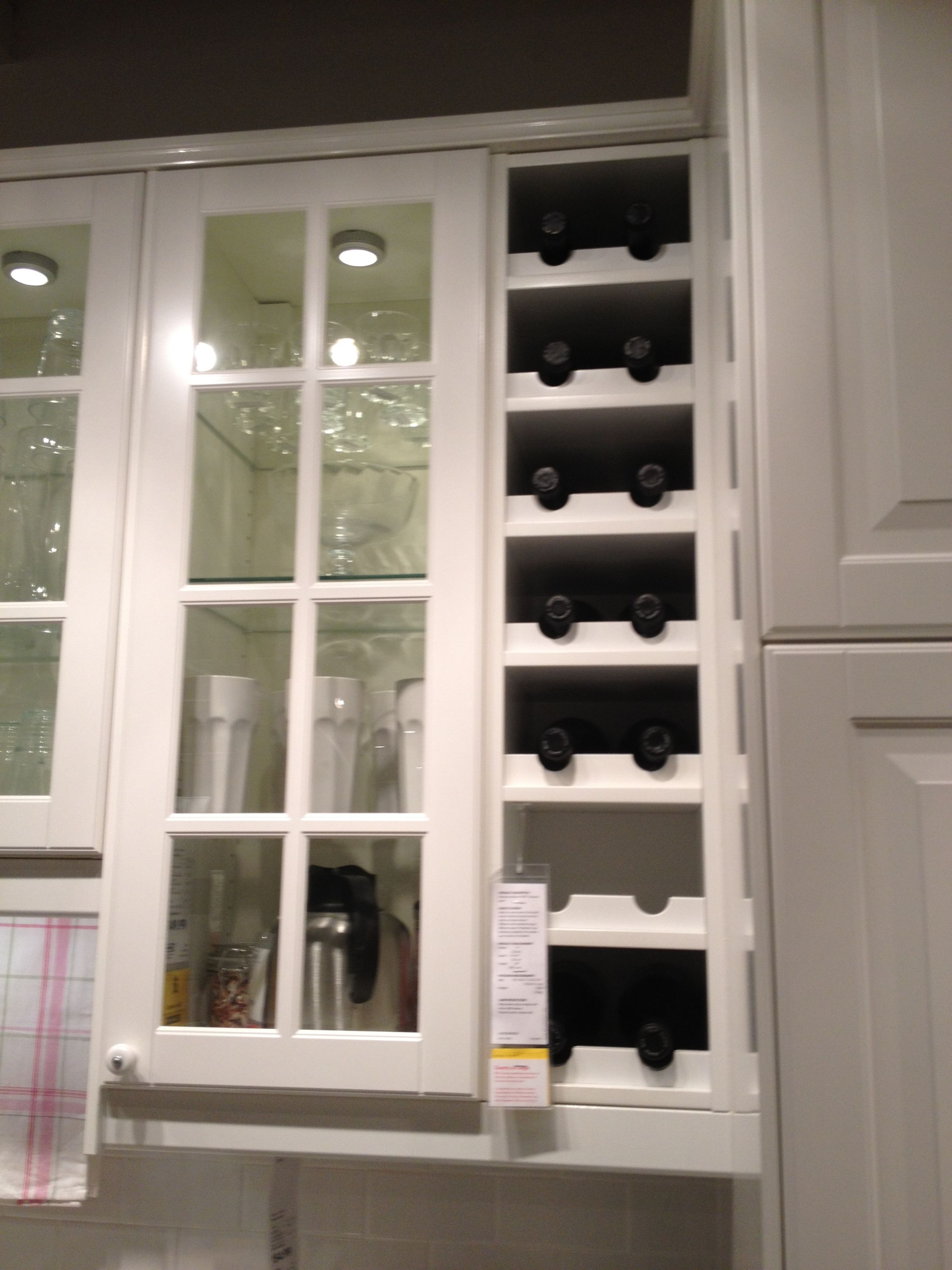 Built in wine rack from ikea kitchen pinterest for Wine rack in kitchen ideas