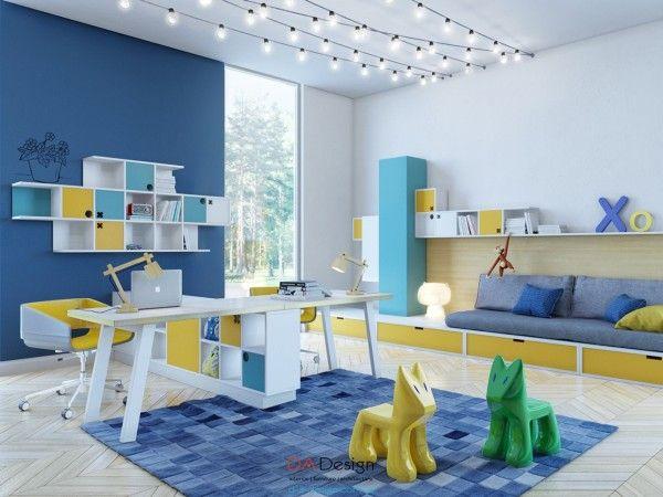 Căn phòng thứ 3 này nổi bật với sự kết hợp giữa màu xanh và vàng