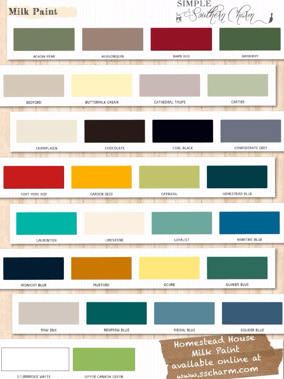 Old fashioned milk paint color chart 32