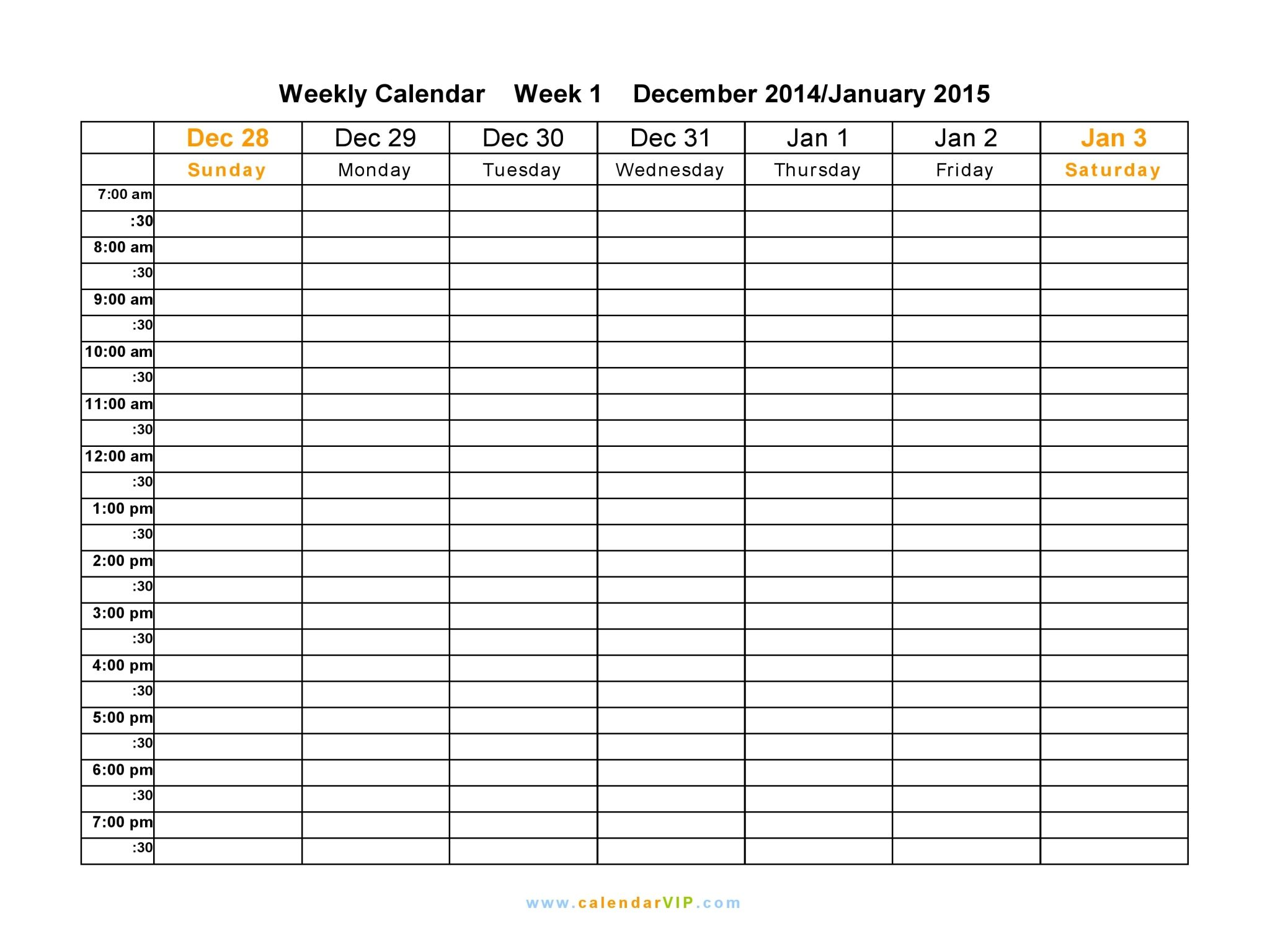 Weekly Calendar With Room For Notes – Weekly Calendar | Daily Form ...