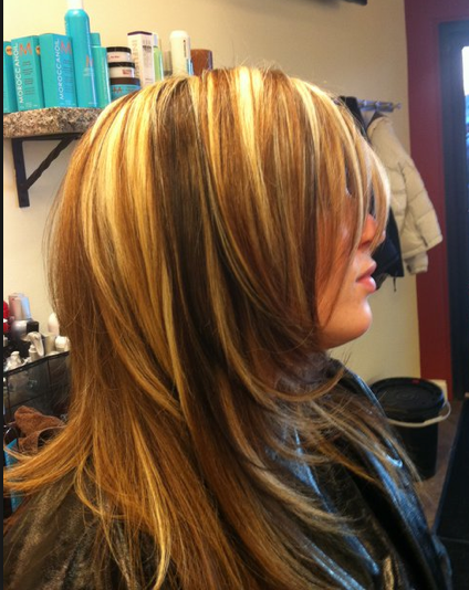Chunky Highlights And Highlights Inverted Bob With Chunky Highlights