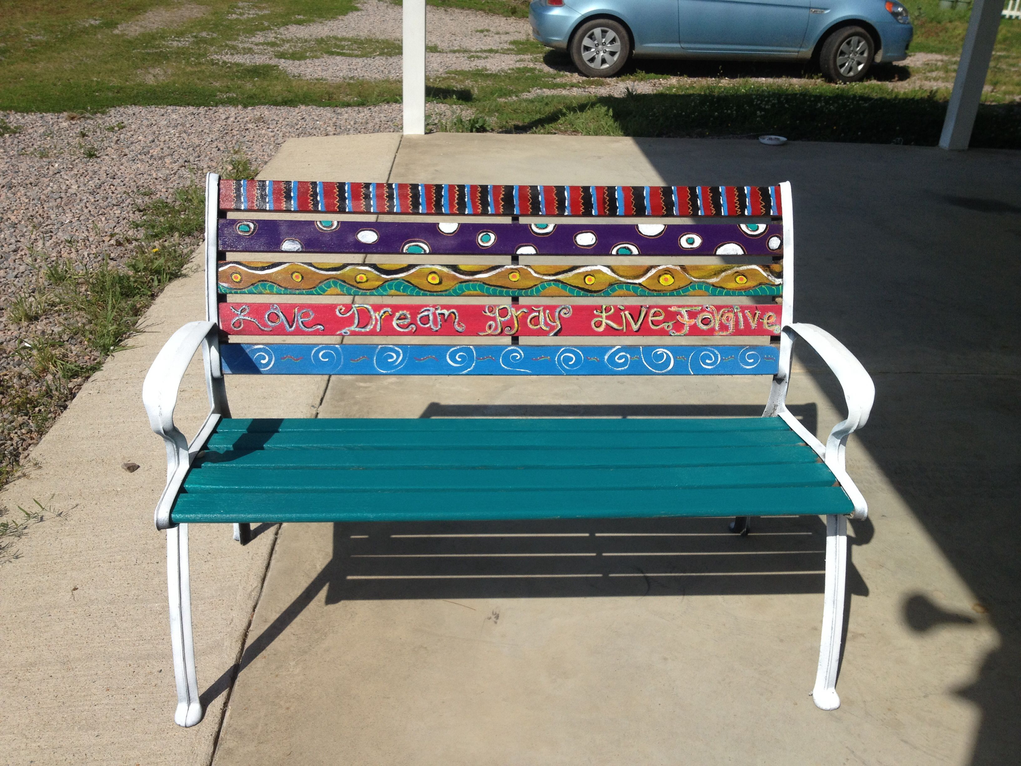 Painted bench ideas 28 images best 25 painted benches for Painted outdoor benches