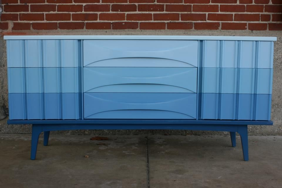 Great example of ombre painted dresser painted for Painted mid century modern furniture