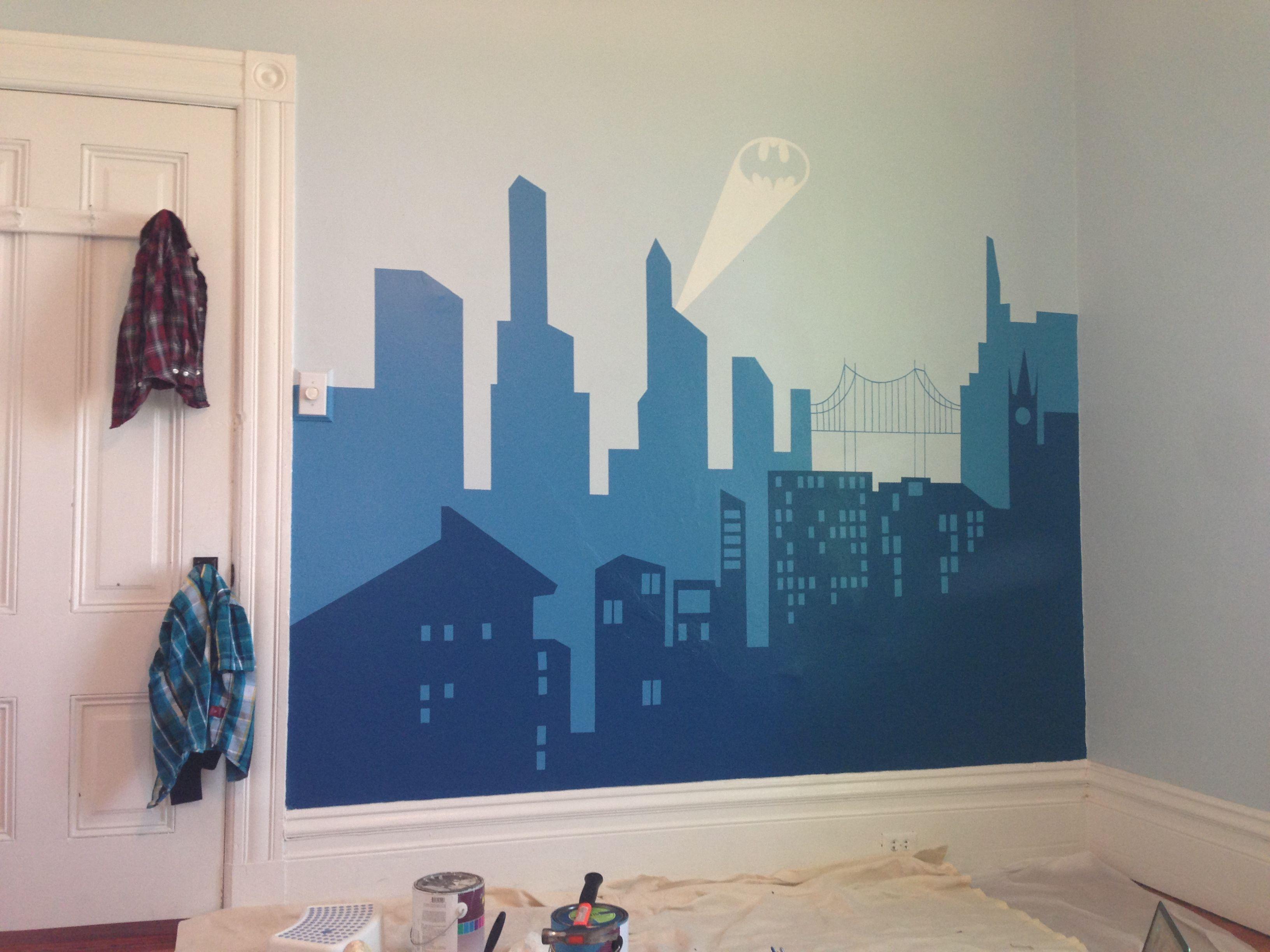 Devon batman room mural gotham skyline my lil boys for City scape wall mural