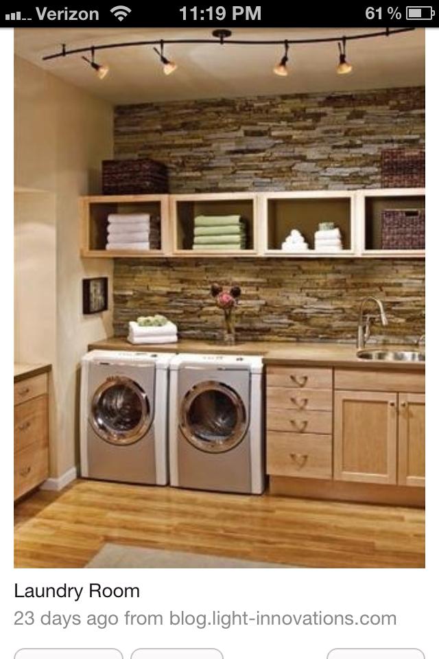 Laundry room love the stone wall house ideas pinterest - Laundry room wall ideas ...