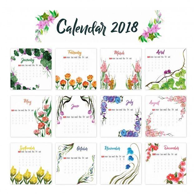 12 Month 2018 Calendar Floral Design | Printables | Pinterest ...