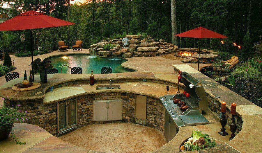 dream backyard pool and grill home design pinterest