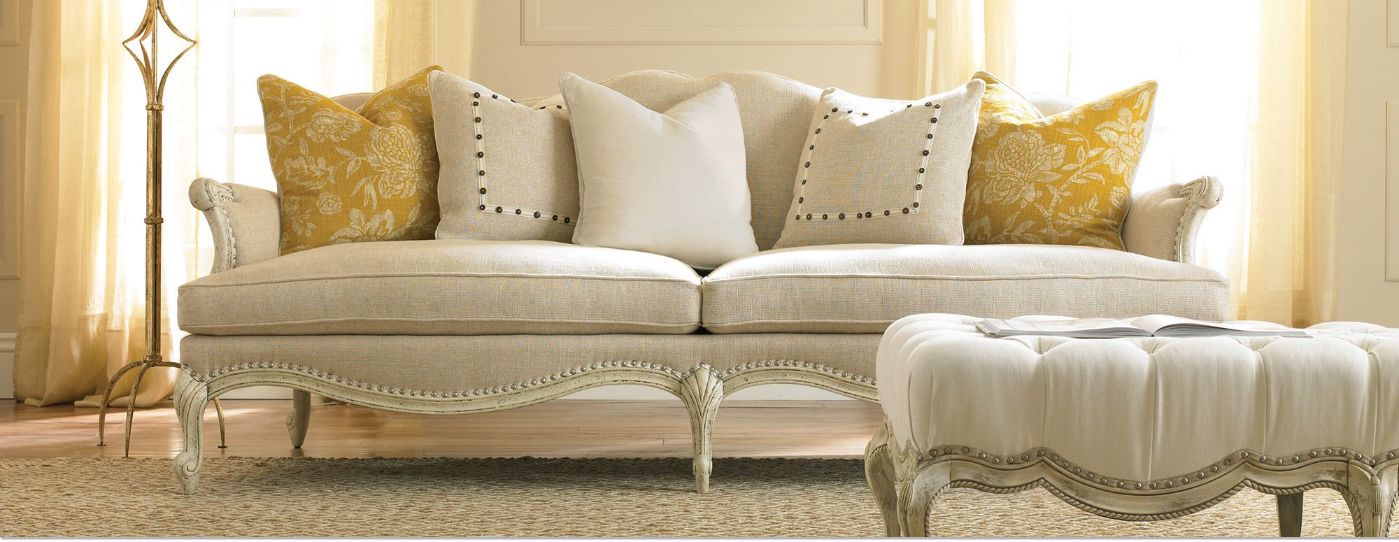 Camelback sofa in modern linens | Are you Traditional? - Classic Fren ...