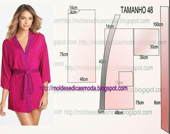 Выкройка халата кимоно с запахом