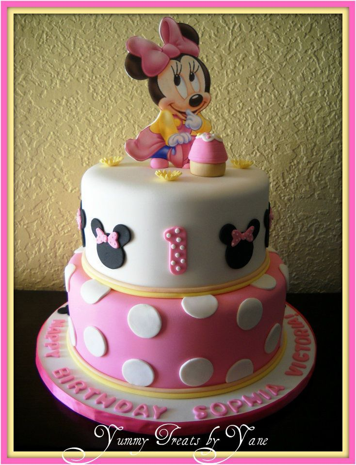 Baby Minnie 1st Birthday cake.  Party stuff  Pinterest
