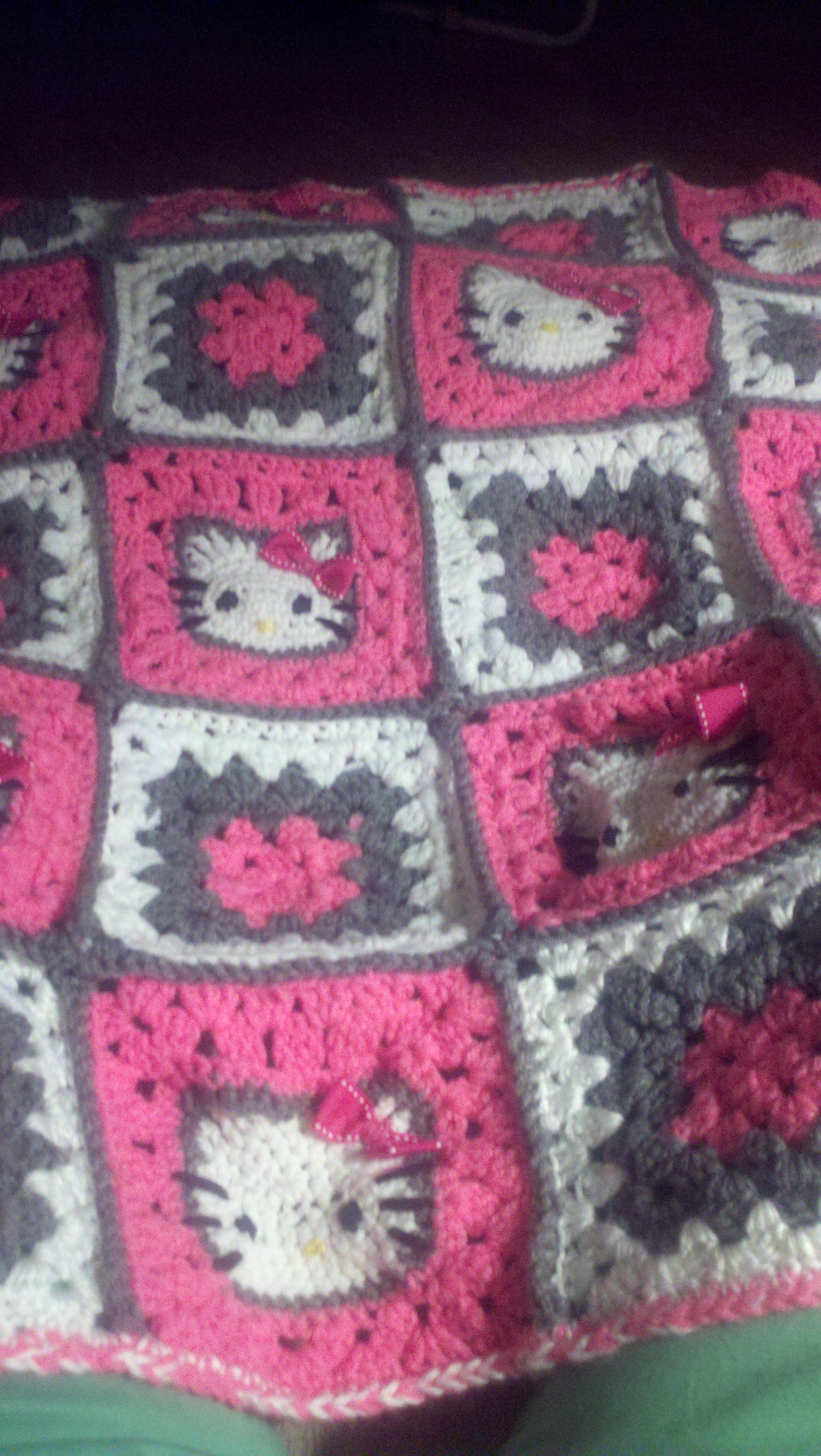 Hello Kitty crochet blanket crochet Pinterest