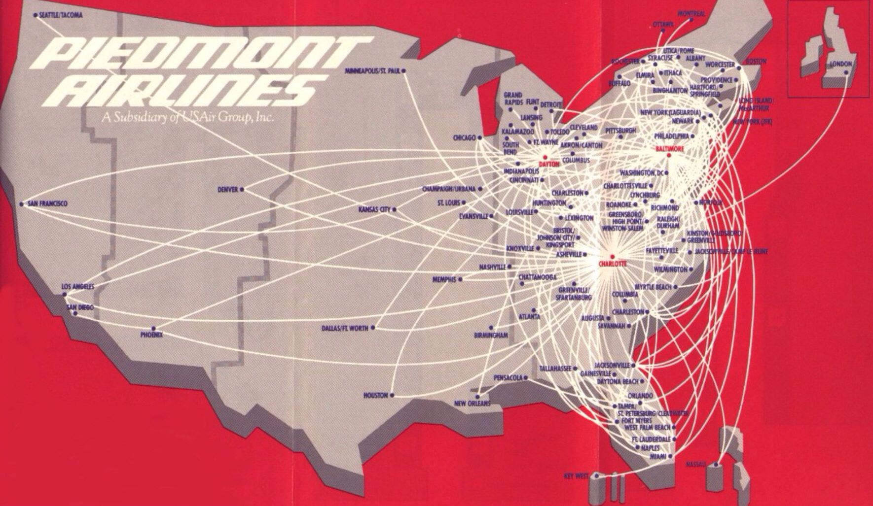 Vintage Route Map Of Piedmont Airlines Cross Country
