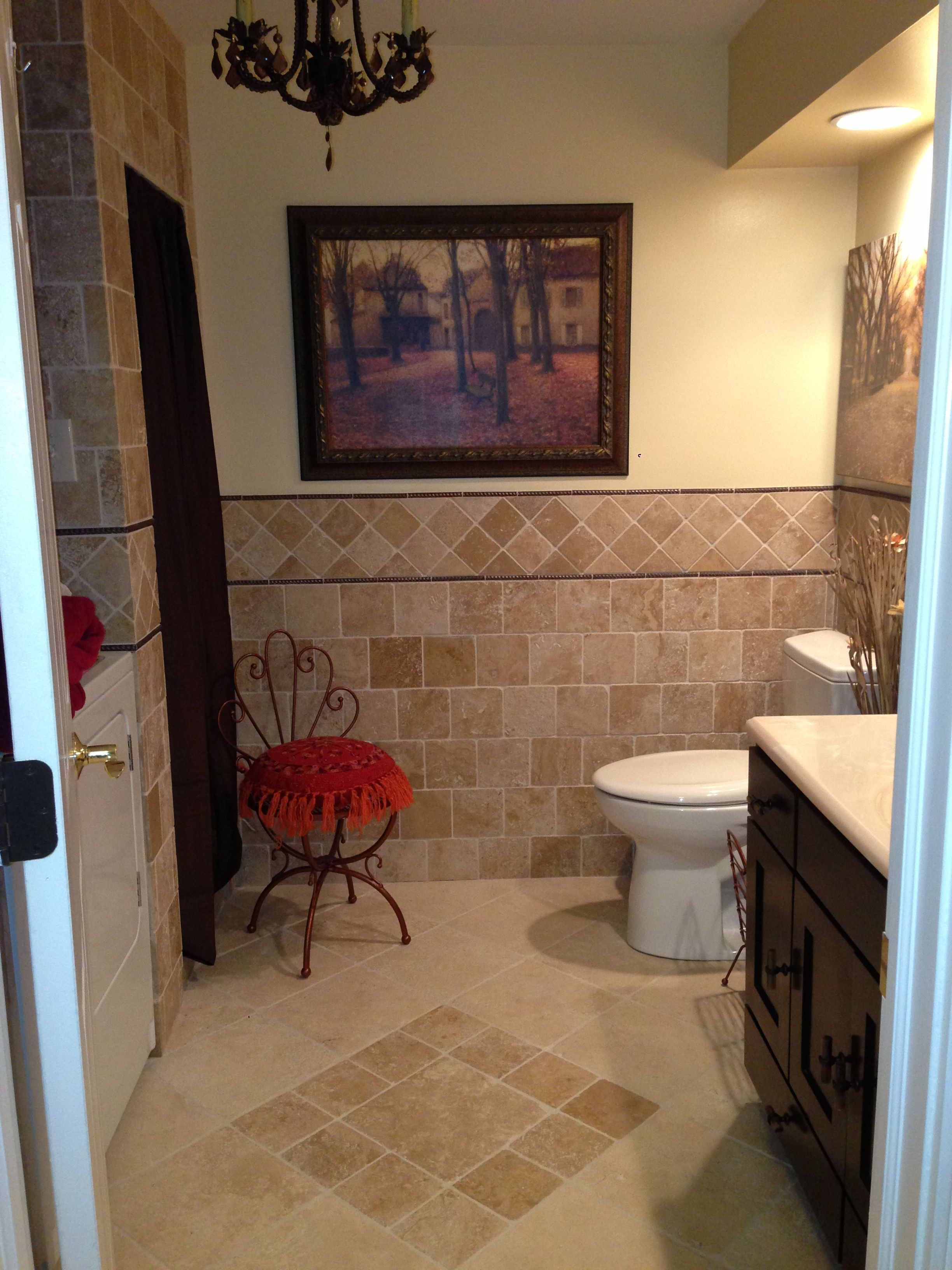 travertine tile bathroom laundry room basement laundry