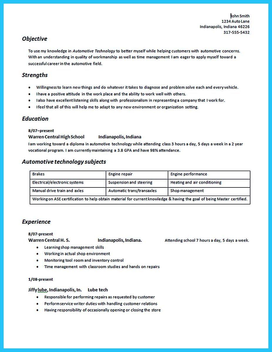 resume for mechanic job