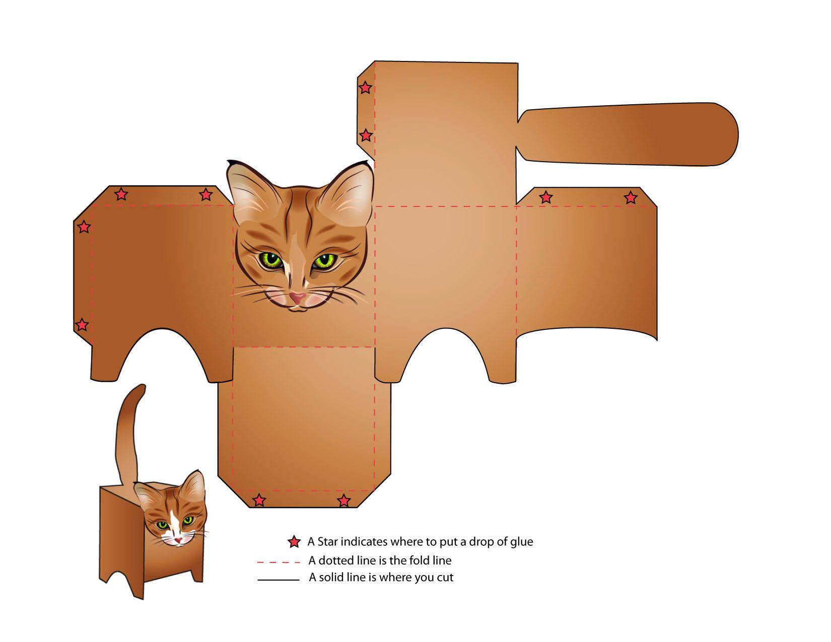 Трафарет котик из бумаги