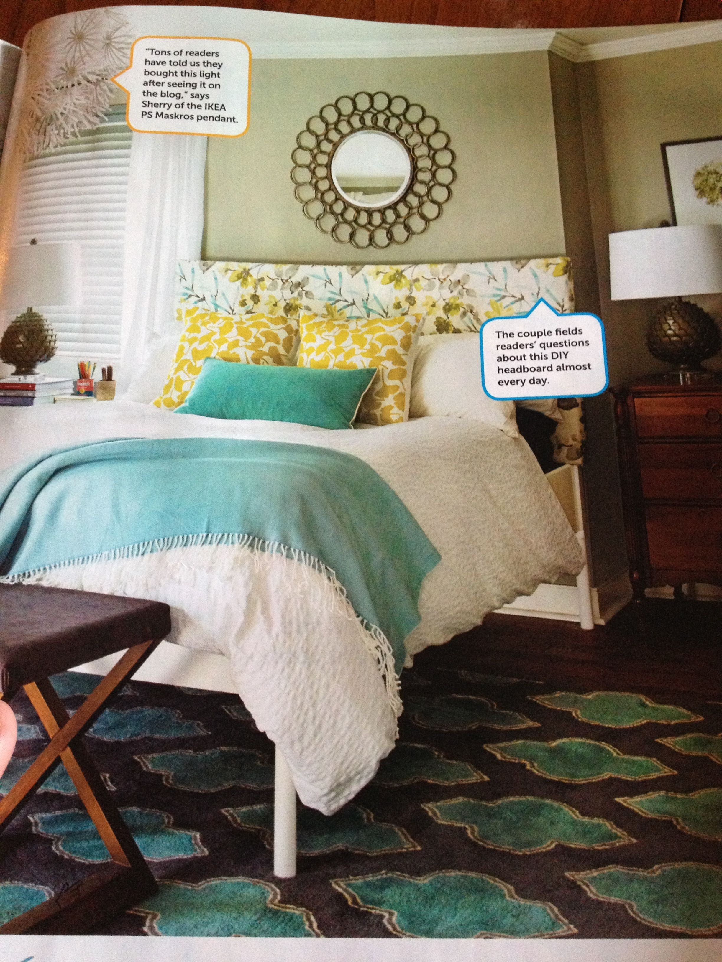 Teal and Yellow Bedroom For the Home