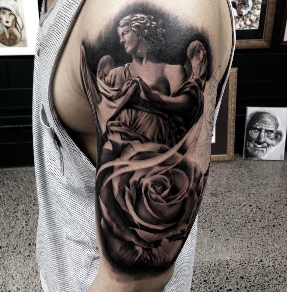 angel and roses tattoos pinterest. Black Bedroom Furniture Sets. Home Design Ideas