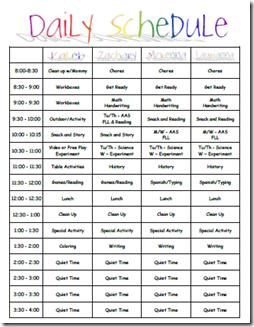 preschool schedule template