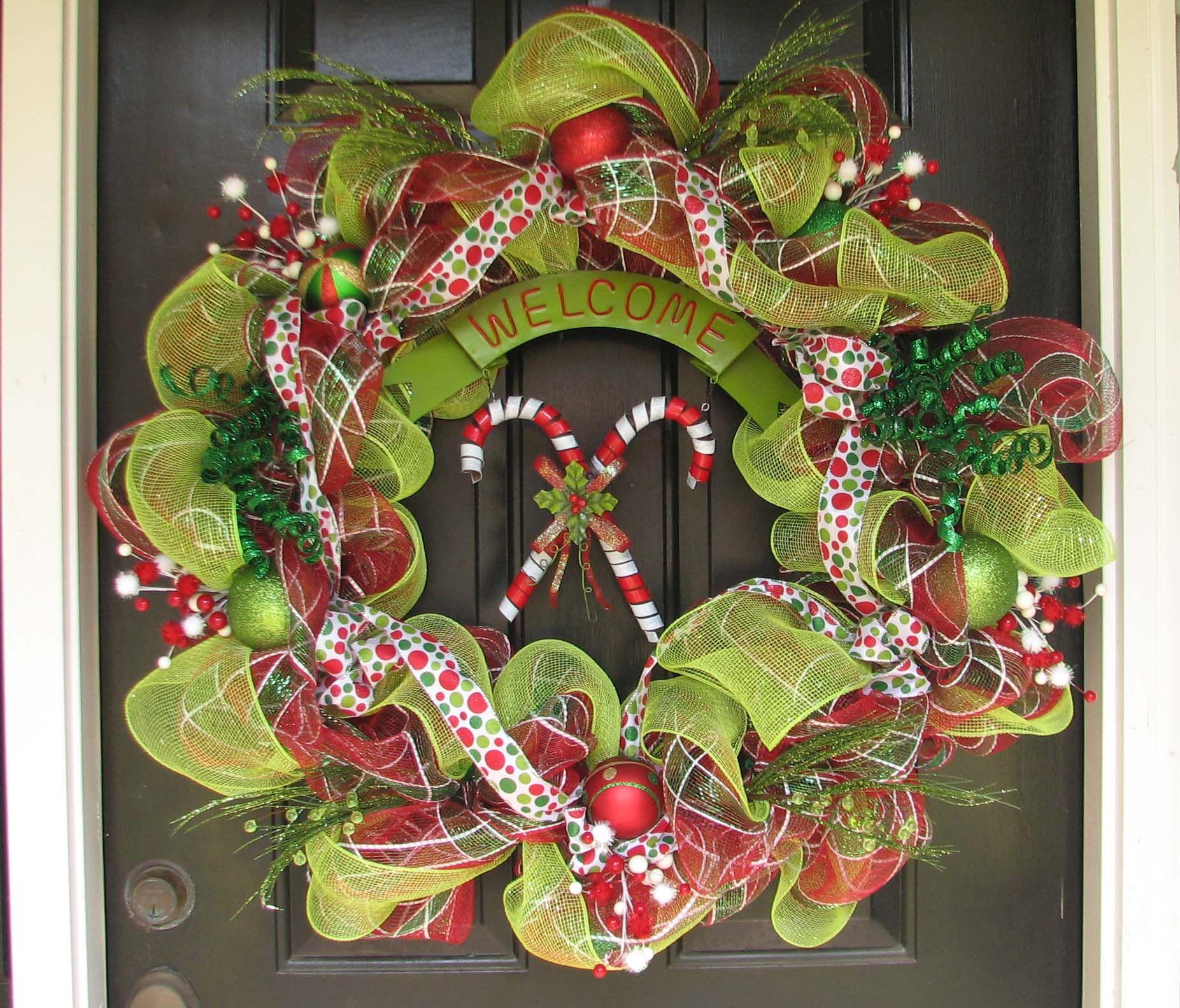 Mesh wreath for front door it 39 s christmas pinterest for Front door xmas wreaths