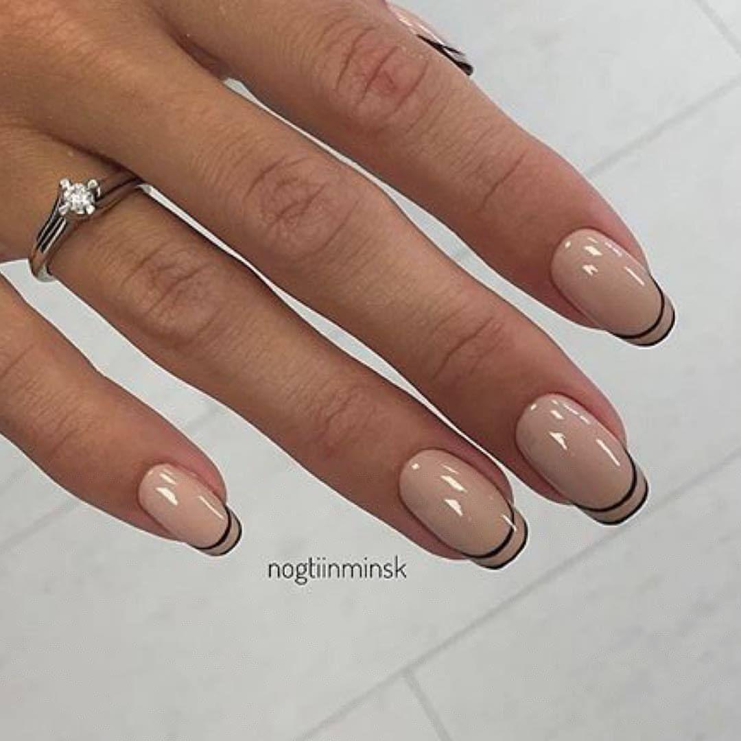 Дизайн ногтей с френчем фото коричневый