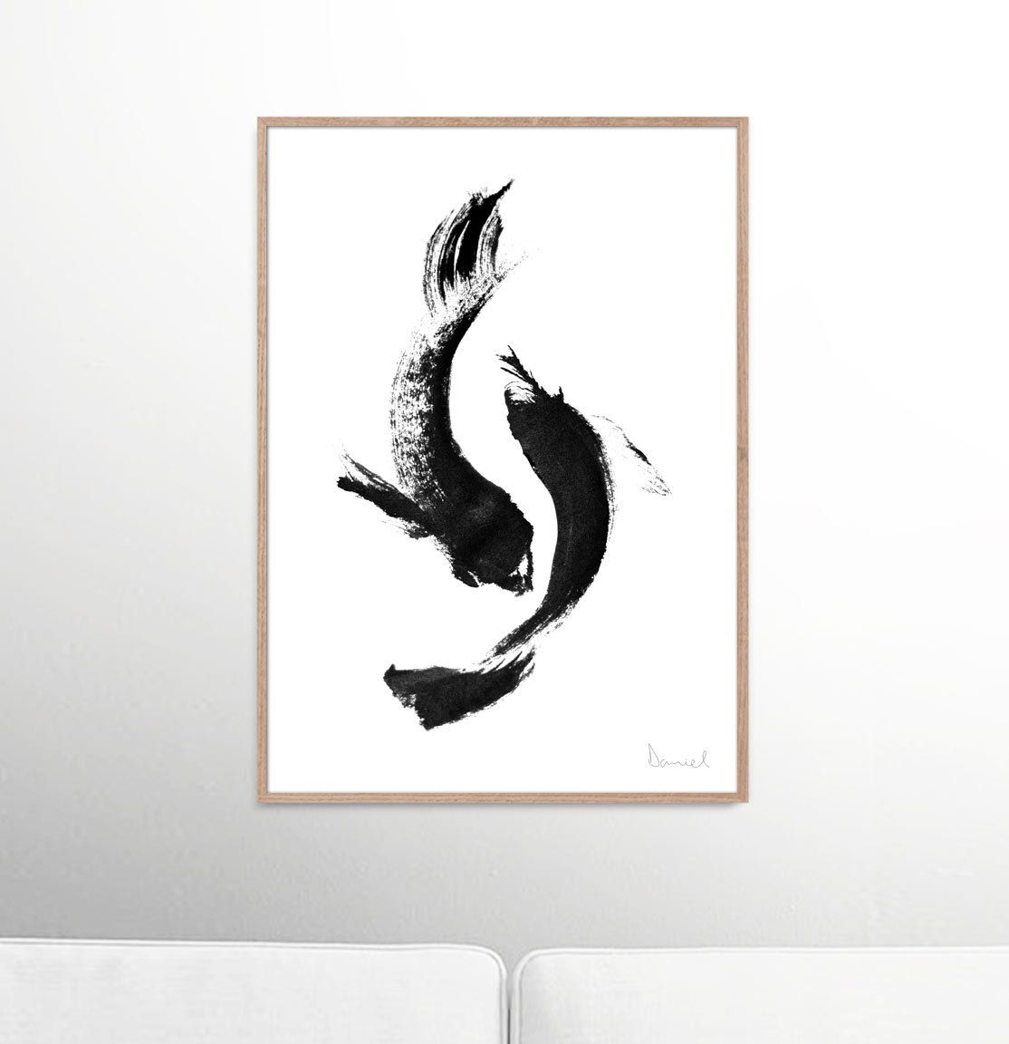 Black and white koi fish painting