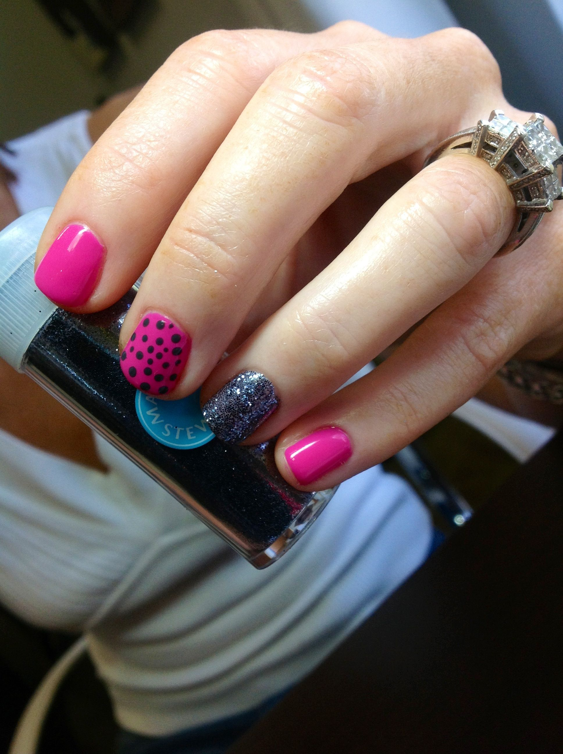 Shellac, polkadots, and glitter :) | Nails by Edge Salon (Cape Coral