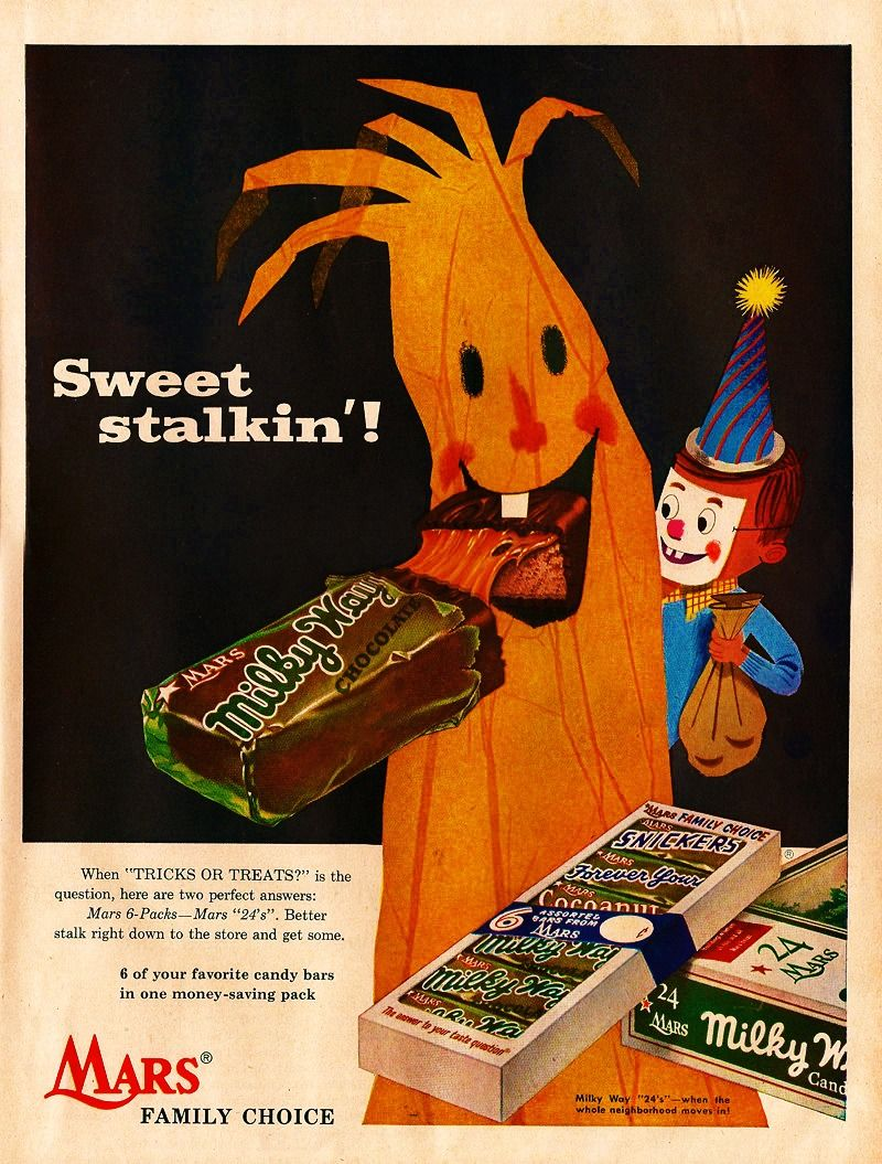 1950s ad for mars candy bars vintage halloween pinterest