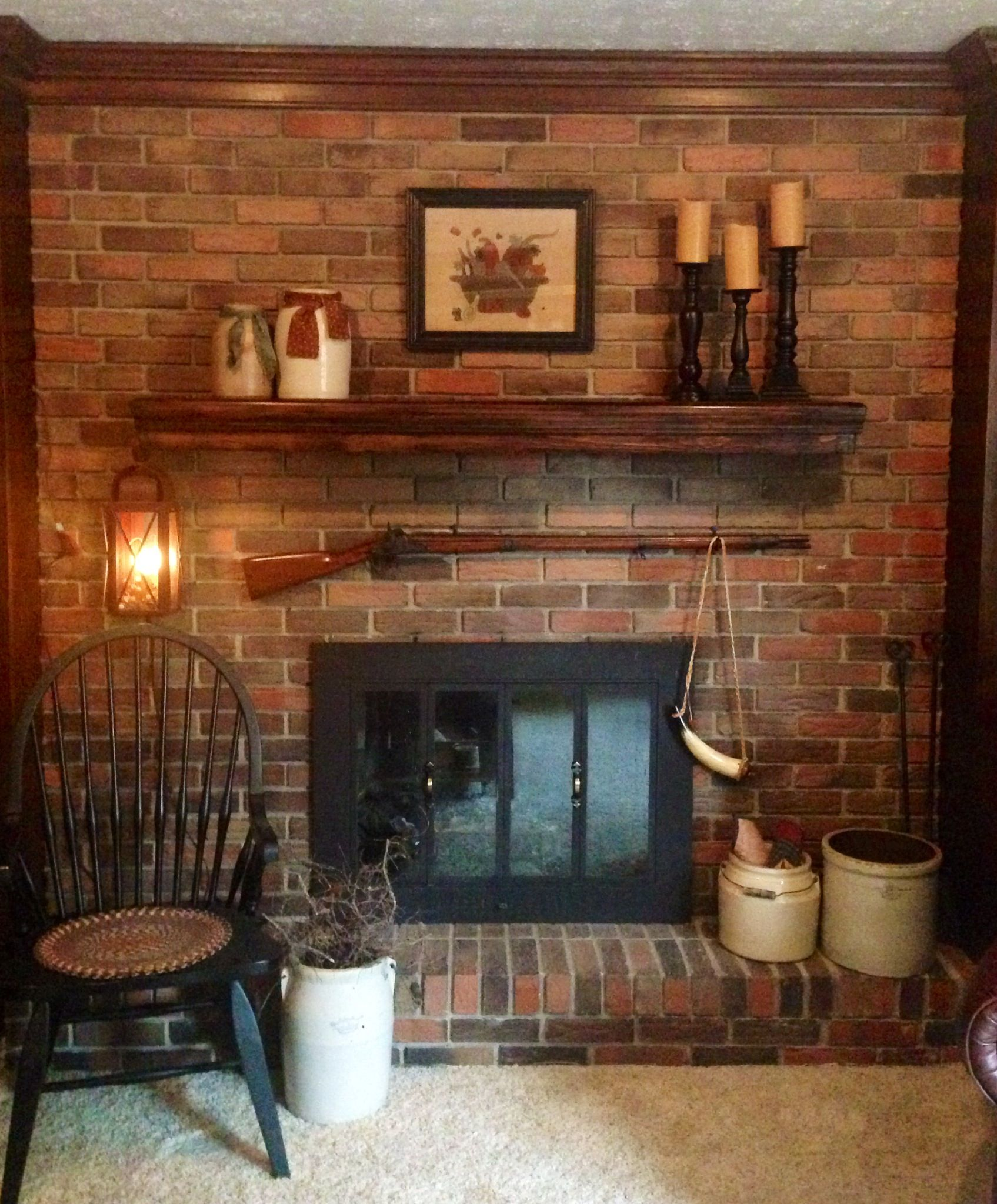 Primitive fireplace | primitive country decor | Pinterest