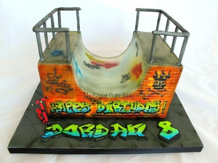 skateboard ramp cake