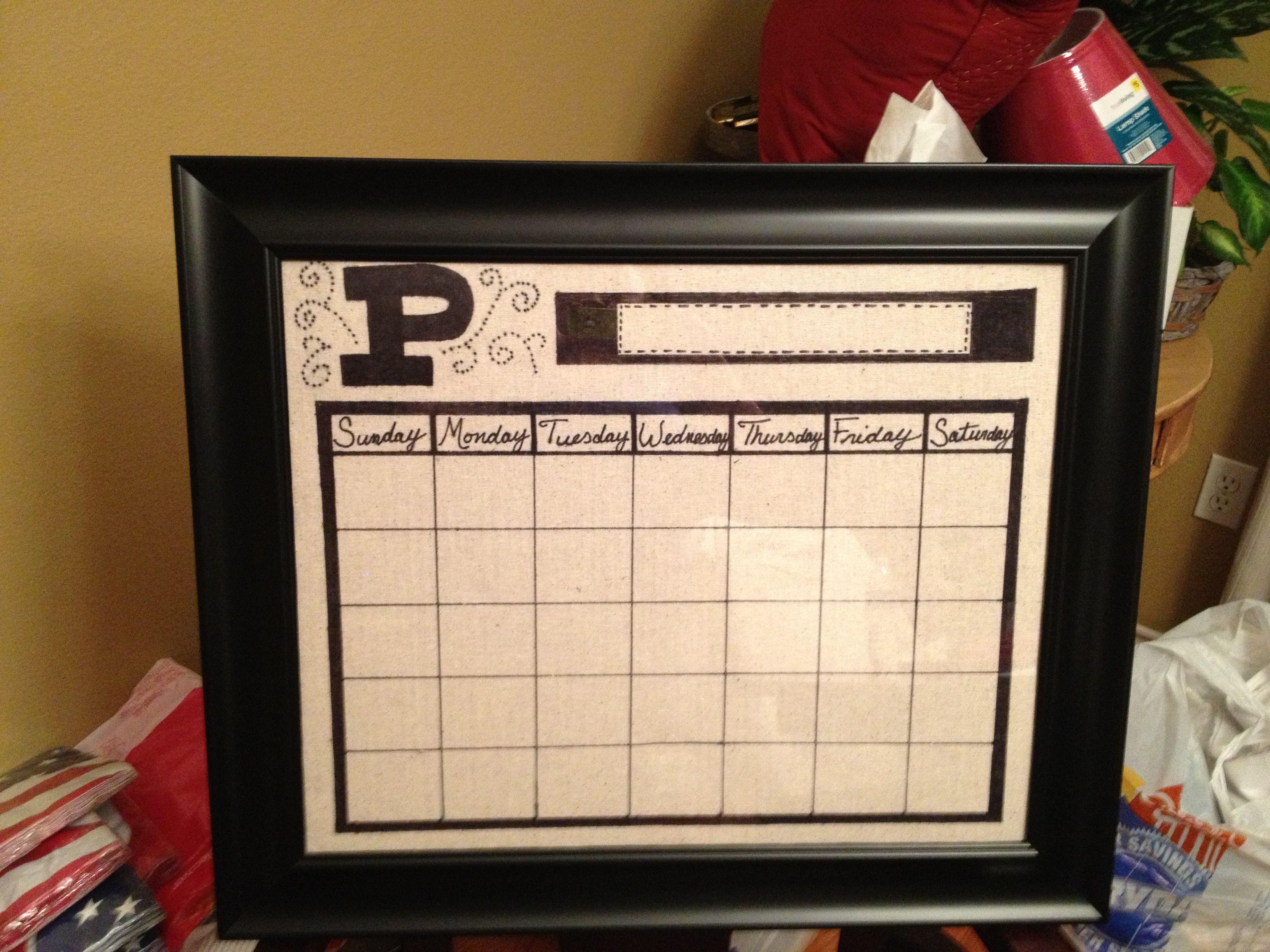 Diy Picture Frame Calendar : Diy picture frame dry erase calendar pinterest