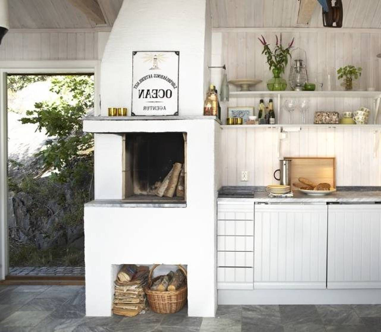 Scandanavian Kitchen With Fireplace For The Home Pinterest