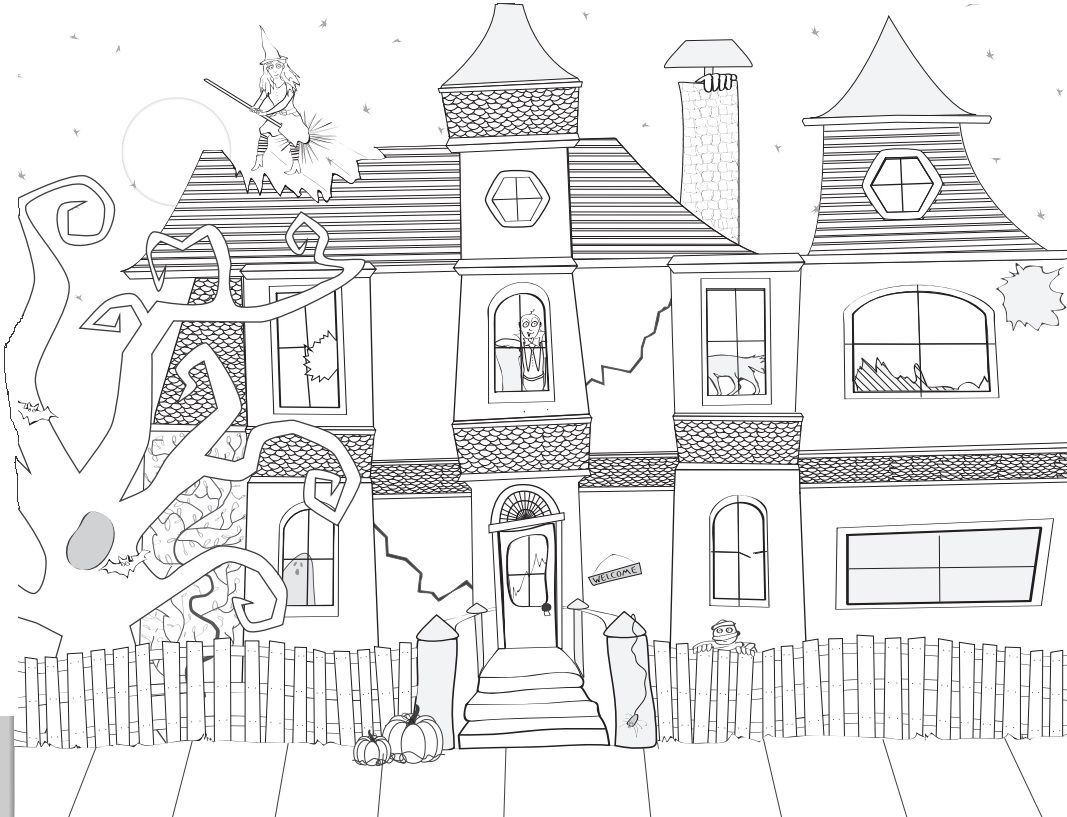 haunted house : Halloween Coloring Pages : Pinterest