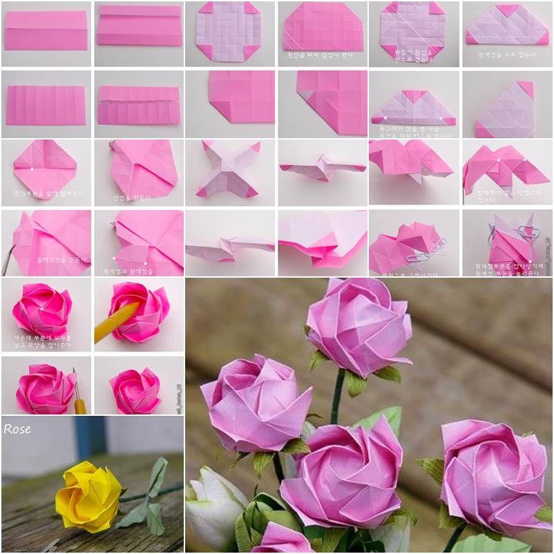 Сделать розу из бумаги своими руками оригами 11